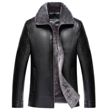 New Fashion man Fur one plus velvet thick leather jacket Leather coat  Men Winter Thicken PU Jackets and parka men