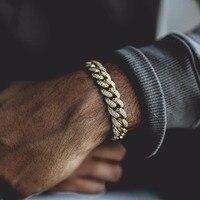 7 8 9 MCIRO PAVE cz hip hop bling mens chain bangle Rock cubic zirconia miami cuban link chain Gold color boy men bracelet