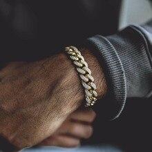 """7 """"8"""" 9 """"MCIRO PAVE cz hip hop bling mens chain bangle Đá cubic zirconia miami cuba liên kết chuỗi Vàng màu sắc chàng trai người đàn ông vòng đeo tay"""