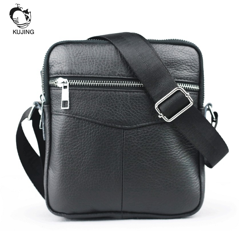 KUJING Brand Leather Men's Bag High-quality Luxury Men's Shoulder Messenger Bag Hot Travel Cheap Business Casual Leather Men Bag цена 2017