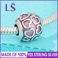 LS High Quality 100 Real 925 Silver Pink Encased In Love Charm Beads Fit Original Bracelets