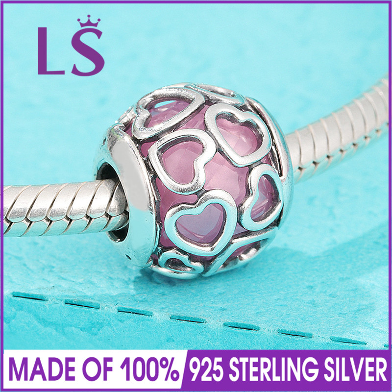 LS High Quality 100% Real 925 Silver Pink Encased in Love Charm Beads Fit Original Bracelets Pulseira Encantos.Fine Jewlery.J