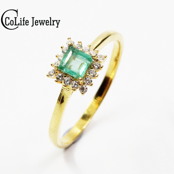 CoLife Jewelry natural emerald ring 4 * 4 mm princess cut natural emerald silver ring solid 925 silver gemstone wedding ring