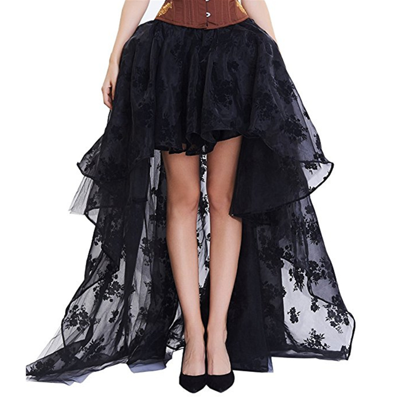 Women 's Lace Skirt Plus Size Steampunk Gothic Vintage Skirt Floor Length Sexy Wedding Party High Low Black Floral Lace Skirt