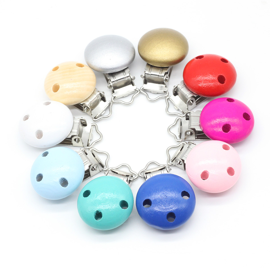 10pcs/lot Wooden Baby Children Pacifier Holder Clip Infant Cute Round Nipple Clasps For Baby Product