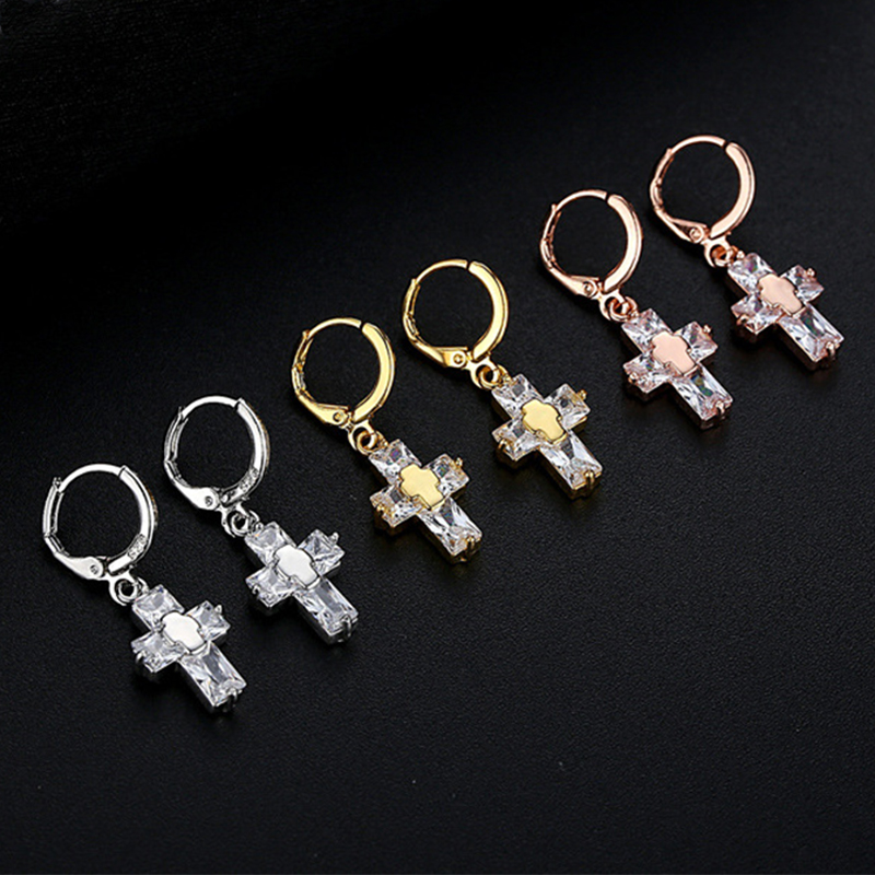 Fashion Cubic Zircon Cross Drop Earrings For Women Classic Crystal Gold Silver Rose Gold Color Cross Dangle Earrings Brincos