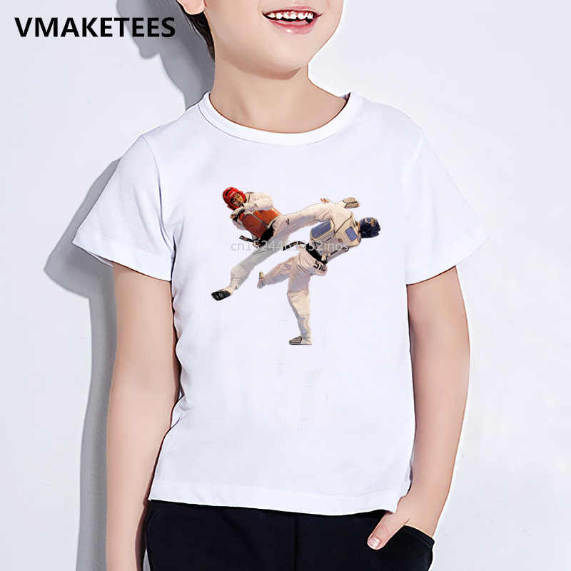 เด็กฤดูร้อนแขนสั้นหญิง & ชาย T เสื้อเด็กเกาหลีเทควันโดพิมพ์เสื้อยืด Funny Casual เสื้อผ้าเด็ก, HKP631
