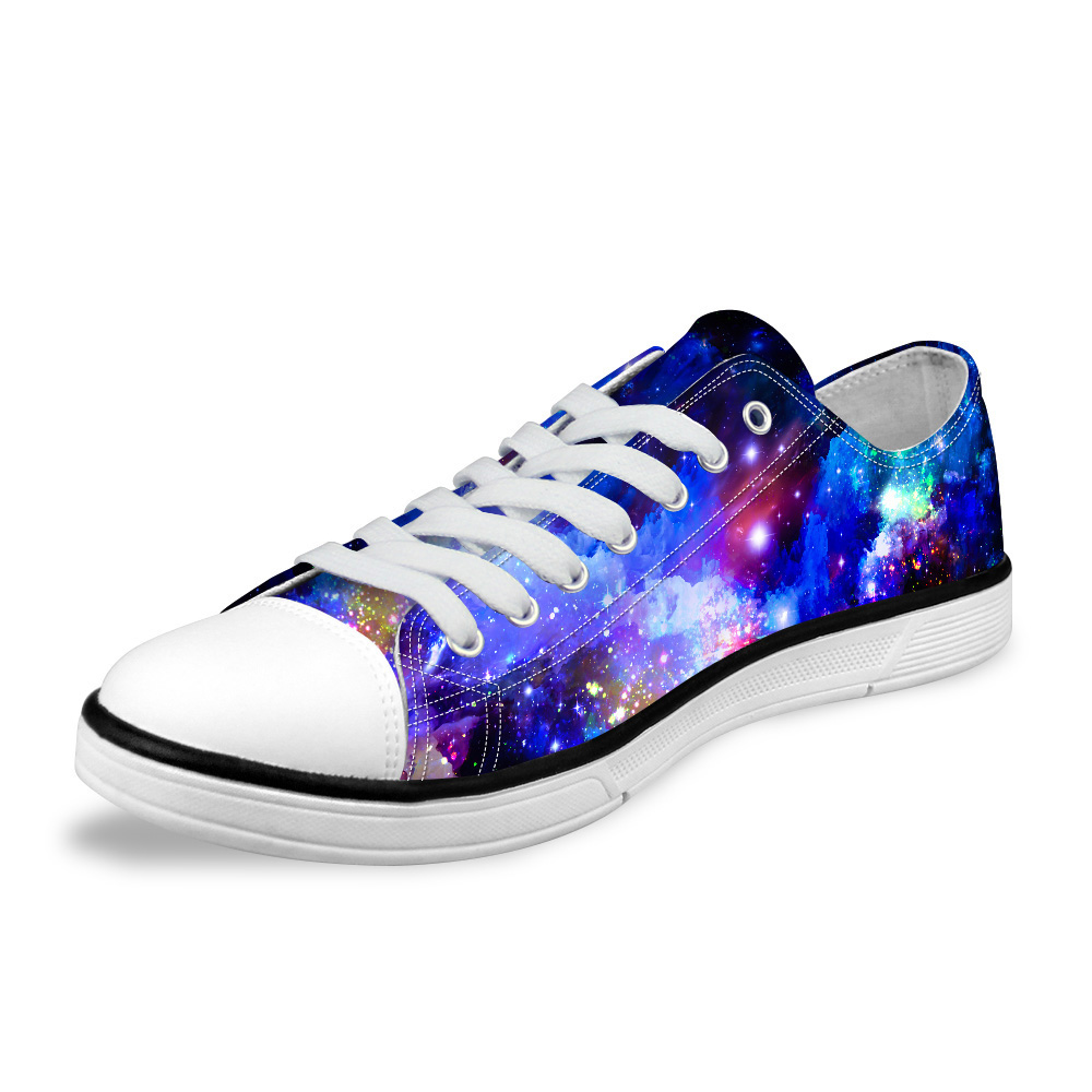 NOISYDESIGNS Fashion Galaxy Universe Space Star print Men Casual Low Canvas Shoes Breathable Lace-Up Male Vulcanized Shoes Man