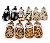 New Stylish Horse Hair 7 Color Genuine Leather Baby Moccasins Lace Up Polka Dot Soft Sole