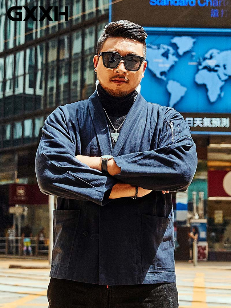 GXXH ブレザーマン新 90% リネンゆるいスーツポケット春秋カジュアル男性シングルブレスト 2 つの Button ビッグサイズブランド服 7XL  グループ上の メンズ服 からの ブレザー の中 1