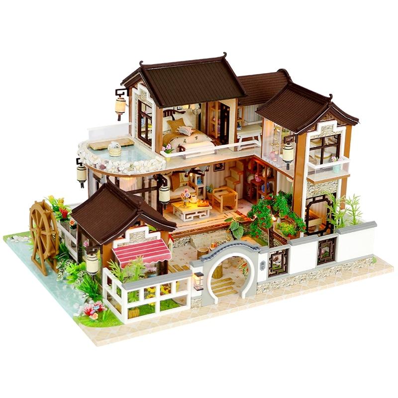Nowy Diy miniaturowy domek dla lalek drewniany miniaturowy domek dla lalek meble Model zestawy Box ręcznie robione zabawki dla dzieci prezenty dla dziewczynek w Domy dla lalek od Zabawki i hobby na AliExpress - 11.11_Double 11Singles' Day 1