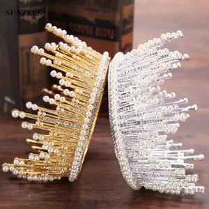 Pałąk okrągły królowa tiary korona perły kryształ ślub Tiara srebrny/złoty nakrycia głowy mariage SQ0213