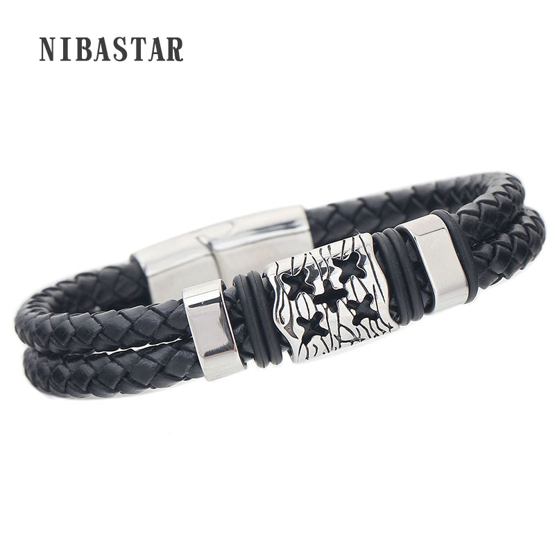Fashion Black Braid Genuine Leather Bracelets Charm Mens Jewelry Cross Male Accessories ...