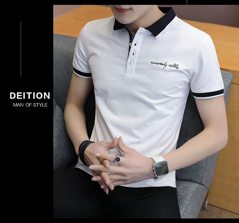 Short-sleeved T-shirt men's fashion casual cotton clothes decorated with multi-color optional 85