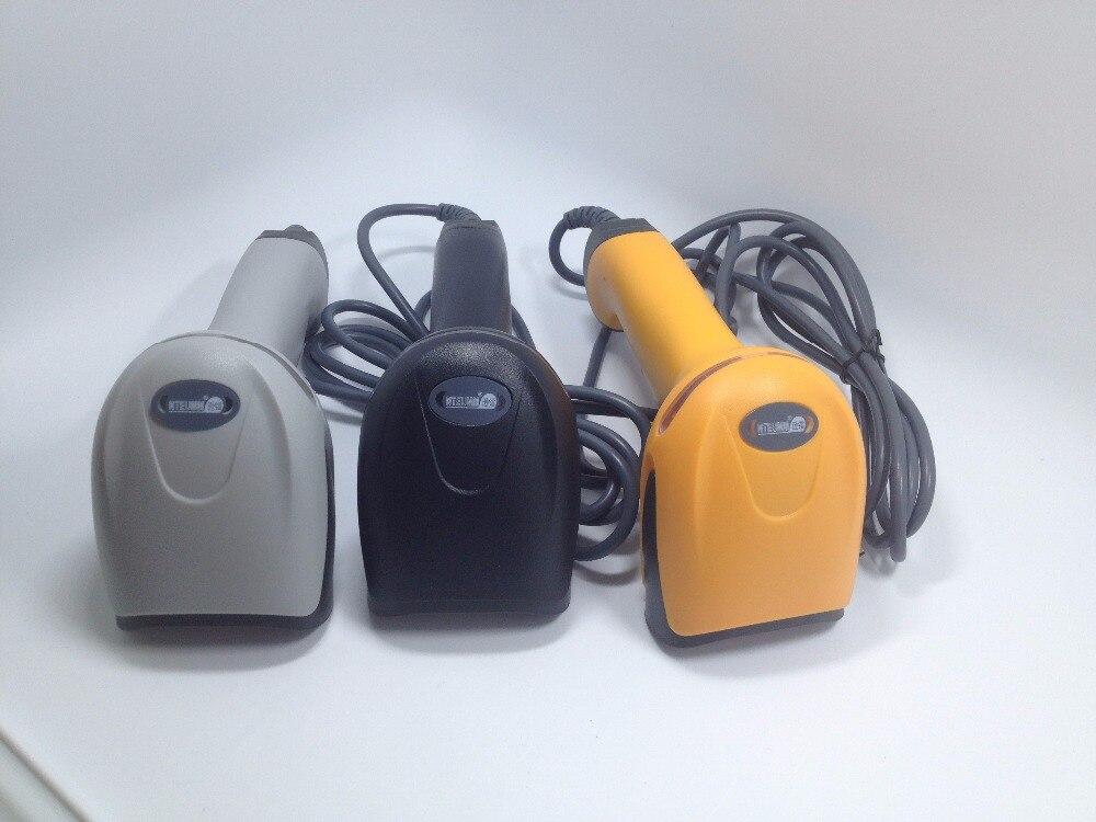 Новый лазерный сканер штрих лучший pos считывания штрих-кода, любой 1D штрих может быть прочитан, USB, черный/белый/yellowenglish руководство, бесплатн...