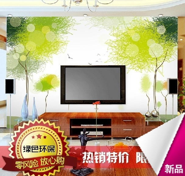 Custom murals minimalist modern sofa green dandelion 3D sters