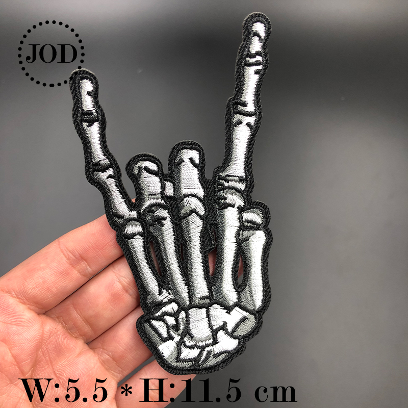 Patch applique embroidered iron on skull fingher f*** applique biker motorcycles