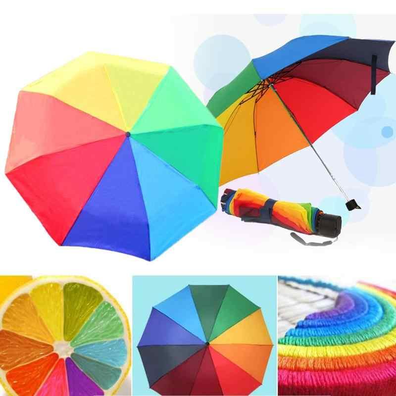 Радужный складной зонтик популярный креативный три складных взрослых детей зонтик ребра цвет прямой анти-УФ солнце/дождь палка зонтик