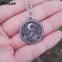 SanLan 1 шт. дропшиппинг Звездная ночь Лунная горная бижутерия из природных материалов