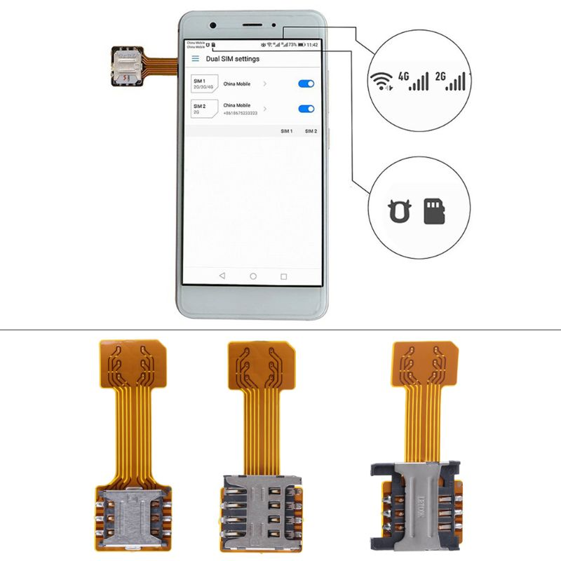 Hybrid Double Dual SIM Card Micro SD Adapter for Android Phone Extender Nano Mic(China)