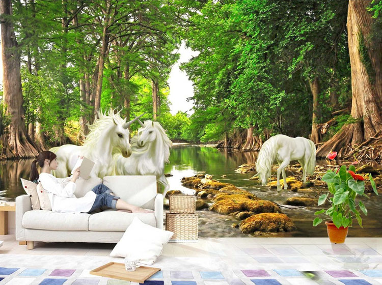 Unicorn Brook Trees Wallpaper Custom 3D Wall Murals Natural Scenery Photo  Wallpaper Kids Bedroom Living Room Art Room Decor Sky In Wallpapers From  Home ...