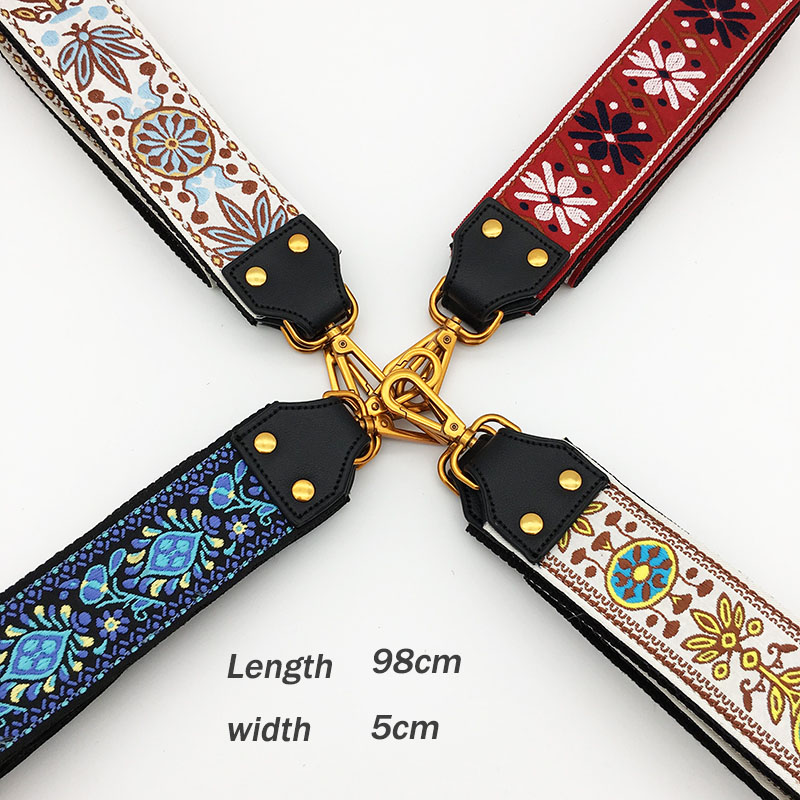 Fashion Embroidery Wide Shoulder Bag Strap Female Handbag Straps You For Bags Accessories Colorful Straps For Handbags Belt silver buckle