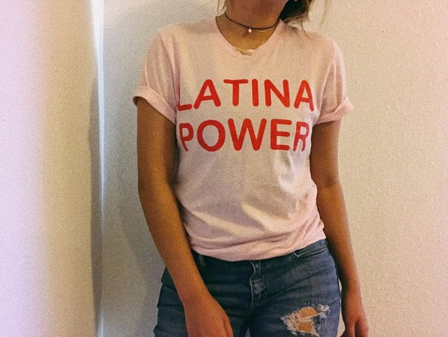 a36360b6b OKOUFEN LATINA POWER Women Tumblr Graphic Hipster t-shirt Top streetwear  Red Letter Print t