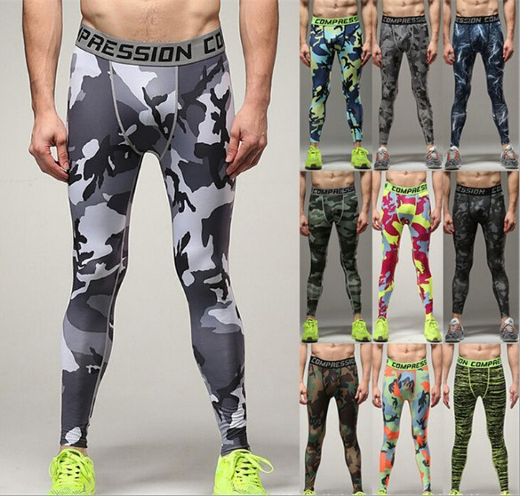 Camo Mens Compression Pants Leggings Base Layer Fitness Trousers Tights Wear XXXL wosawe men compression tights cycling base layer running fitness workout gym clothes long johns sports pant jersey suit