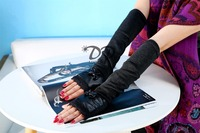 New High Quality Leather Bow Tie Gloves Fashion Trend Ladies Long Section Of The Winter Warm
