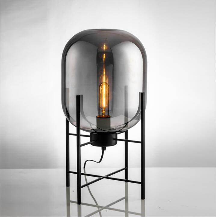 Creative iron glass floor lamp Nordic simple and vintage upright winter melon ball table lamp floor