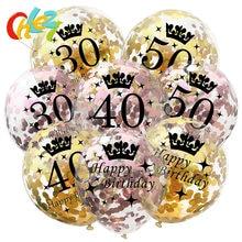 Ballons avec confettis en latex, 5 pièces, 12 pouces, de couleur noire et or, pour anniversaire de 18, 21, 30, 40 et 50 ans, décoration de réception de mariage