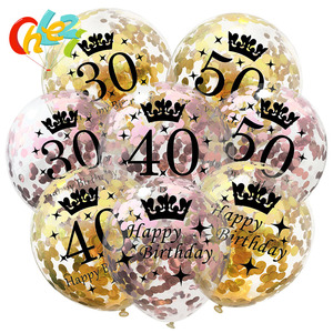 5pcs 12 Inch Confetti Balloons Latex Gold Black Birthday Balloons 18 21 30 40 50 Years Old Anniversary Wedding Party Decoration