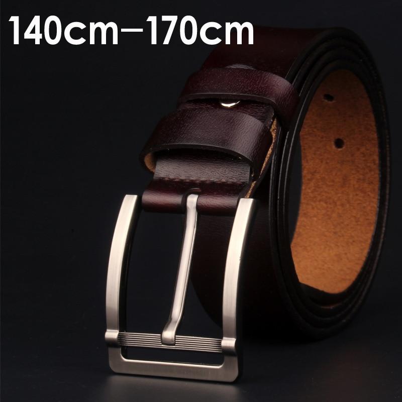 Large size 140 145 150 155 160cm 100% genuine leather   belt   Men's black   belt   pin buckle ceinture femme de marque luxe new 2019