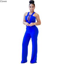 Sexy Lace Up Strap Rompertjes Vrouwen Wijde Pijpen Jumpsuit Slim Hollow Out Mouwloos Backless Ruches Bandage Party Overalls Playsuit(China)