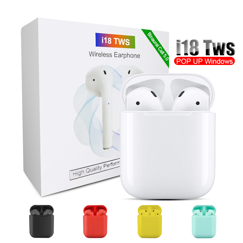 i18 <font><b>TWS</b></font> Touch control <font><b>Bluetooth</b></font> 5.0 headphone 3D <font><b>stereo</b></font> Headsets <font><b>wireless</b></font> earphone with dual microphone for iphone Android image