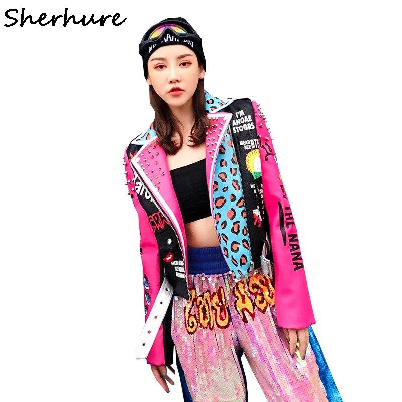 2018 Autumn Women Jacket Coat Leopard Print Rivest Beading Cool Punk Women Pu Leather Coat Top Quality Women Coat Chaqueta Mujer