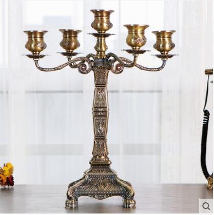 Porte-gobelet en métal de couleur bronze de luxe à 5 bras bougies d'anniversaire pièce maîtresse de table photophore pour candele décoratif ZT172