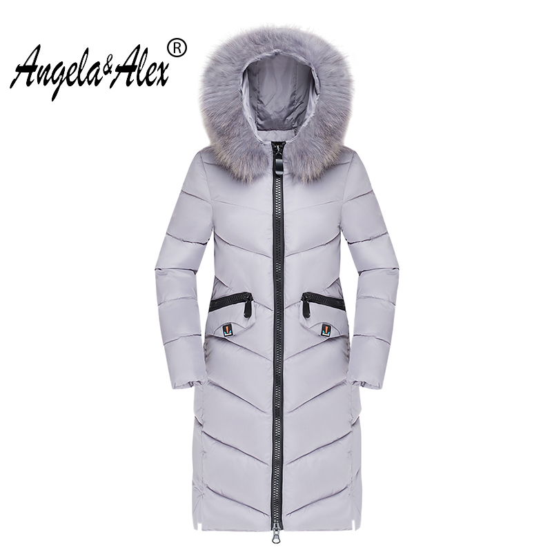 2017 new Winter Fashion Coat Female Slim Warm Hooded Parkas Female Fur Collar Overcoat High Quality Women Cotton Wadded Jacket 2017 women winter jacket new fashion cotton padded long hooded coat parkas female wadded outwear fur collar slim warm parkas