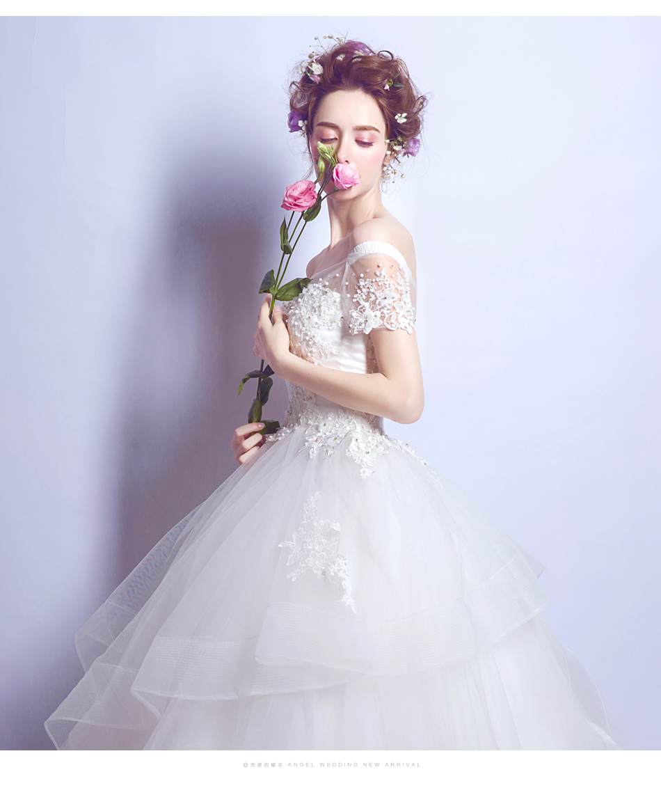 Angel Wedding Dress Marriage Bride Bridal Gown Vestido De Noiva 2017 Boat Neck Nail, lace, 2129 11