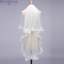 2019 Cheap Bridal Veil With Combs Elbow Length Veil Short Wedding Veils With Lace Appliques Veils Wedding Accessories