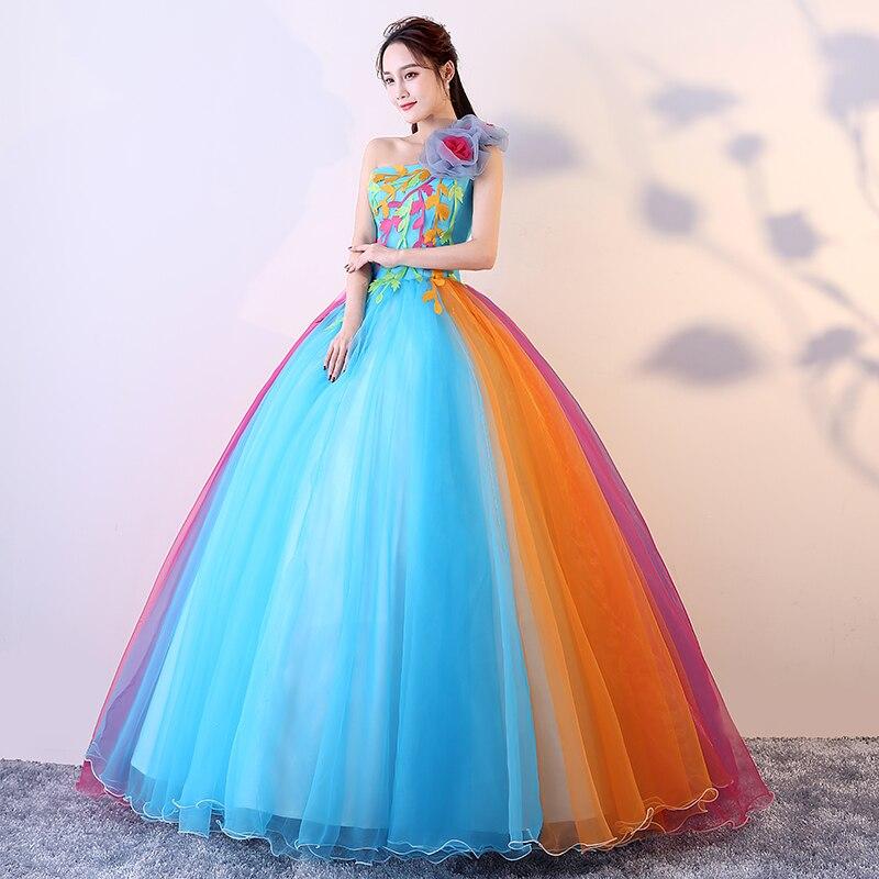 Sexy fille une épaule longue robe de bal douce seize Quincenera robes Applique fleur Vestido 15 Anos Debutante dos ouvert robes