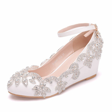 hot deal buy 2019 fashion pumps women medium wedges heel wedding ankle strap shoes white bride party womens shoes plus size xy-a0167