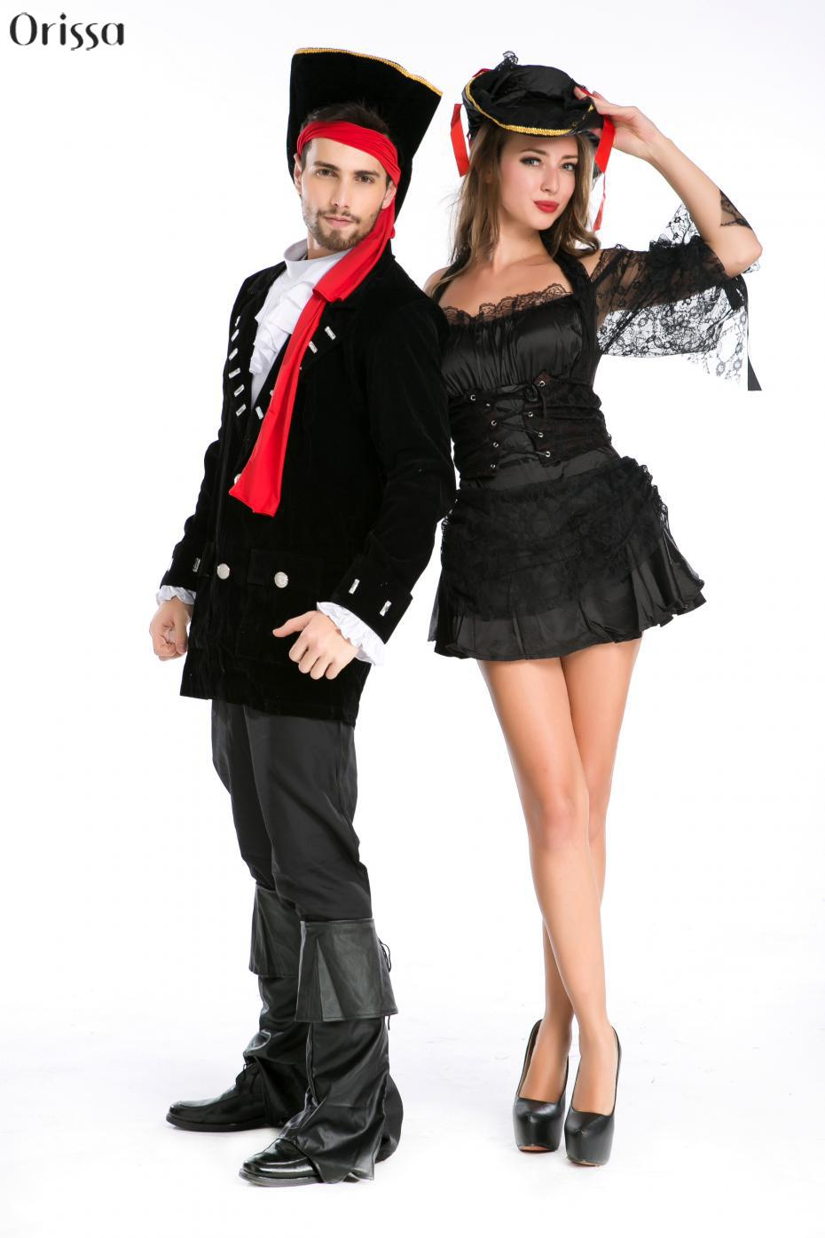 black sexy pirate costumes halloween costumes for women lace women adult pirate dress women couple pirate cosplay costumes in sexy costumes from novelty