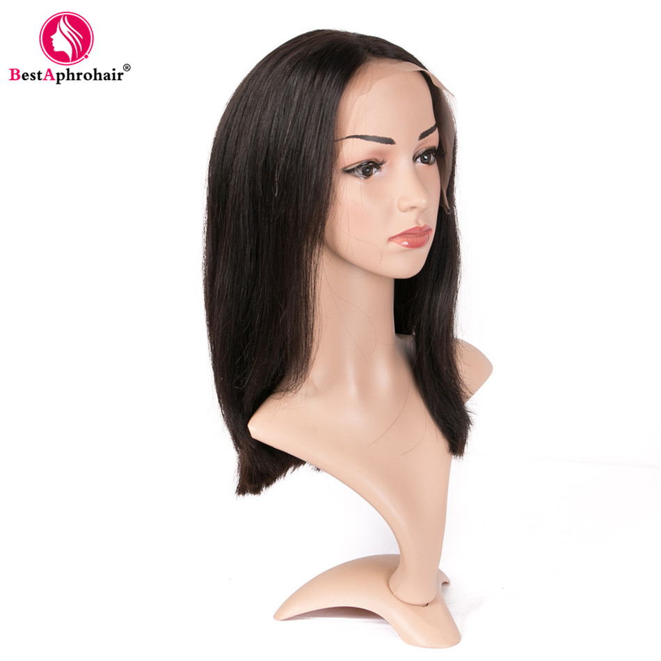 Aphro Hair 150% Density 13x4 Lace Front Wigs With Baby Hair Natural Black Pre Plucked Indian Remy Straight Human Hair Bob Wigs