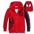 2014 Nueva Primavera Otoño bebé Spiderman abrigo Chaqueta con capucha Niños de dibujos animados los niños suéter de los niños prendas de vestir exteriores de ropa