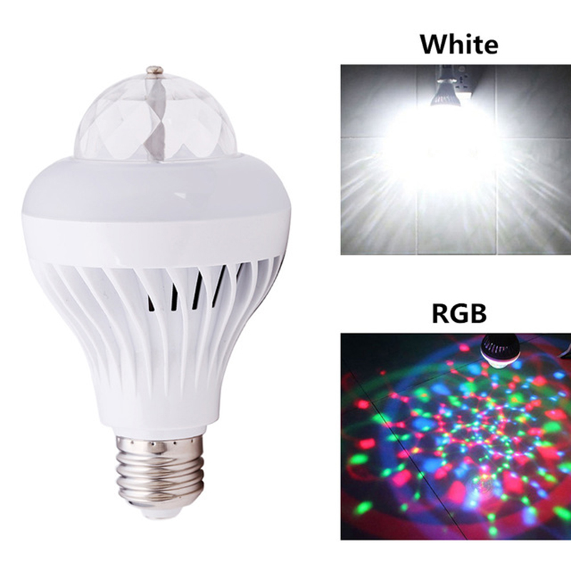1Pcs 8W E27 Auto Rotating Stage Light 2 in 1 White RGB LED Bulb Crystal Ball Colorful LED Light For Disco Bar Party Bedroom Lamp aosl w883 5 e27 8w 640lm 7 led rgb white auto rotating crystal stage light white ac85 260v