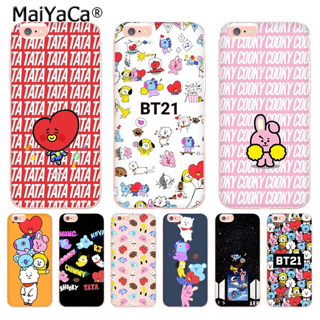 Maiyaca Bts Bt21 Coque For Iphone 4s Se 5c 5s 5 6 6s 7 8 Plus X Xr Xs Max Phone Cases Transparent Soft Tpu Cover Cases Diversified Latest Designs Cellphones & Telecommunications Half-wrapped Case