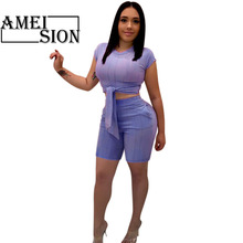 Women Tracksuit Bow Belt Suits for Female Summer Casual Two Piece Set Sexy Summer Outfits T Shirt Crop Tops and Shorts pearl beading black tracksuits women two piece set 2018 street t shirt tops and jogger set suits casual bodcon 2pcs outfits