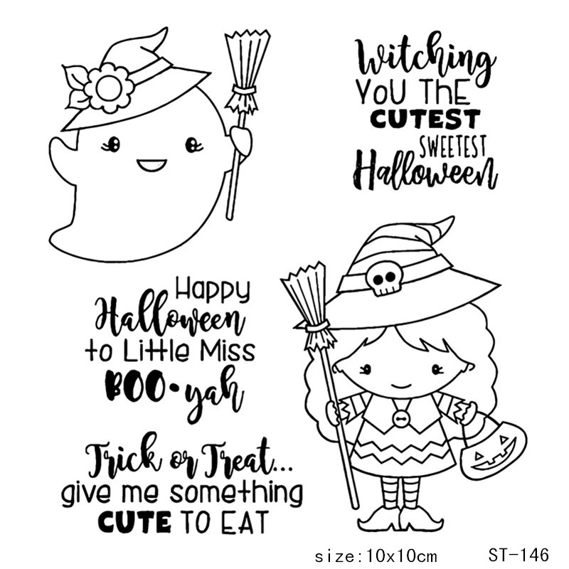 AZSG Happy Halloween Lovely witch Clear Stamps Seals For DIY Scrapbooking Card Making Album Decorative Silicone Stamp Crafts in Stamps from Home Garden
