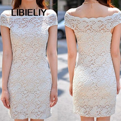 Nice New Women Clothing Bodycon Flower Two-Piece Lace Dress Slash Off The  Shoulder Women 2452da43c2b4